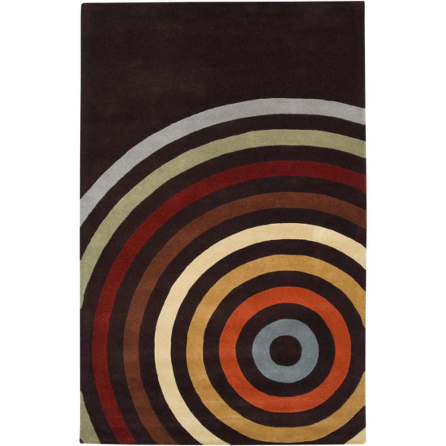 4' x 6' Eye of the Tiger Spiral Modern Multi-Colored Wool Area Throw Rug