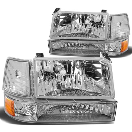 Reflector Brown Housing - For 92-96 Ford F-150 Bronco Replacement Headlight Lamp Assembly (Chrome Housing Amber Reflector) - 5 Gen 93 94 95