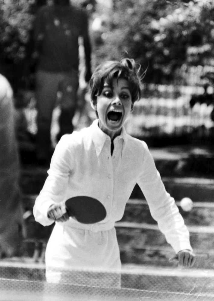 Audrey Hepburn playing Ping Pong Photo Print by Globe Photos LLC
