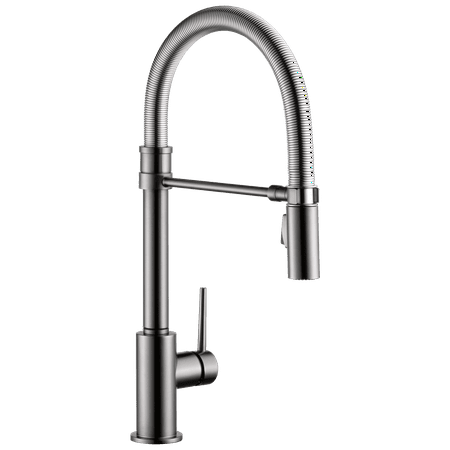 Delta Trinsic Single Handle Pull-Down Kitchen Faucet With Spring Spout, Black Stainless