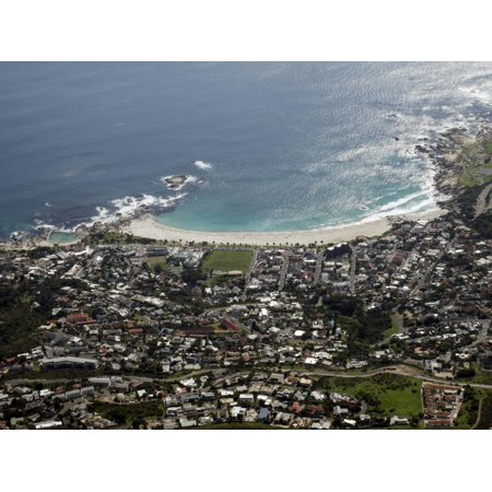 Aerial view of Camps Bay seen from Table Mountain National Park Cape Town Western Cape Province South Africa Rolled Canvas Art - Panoramic Images (9 x - National Western Stock