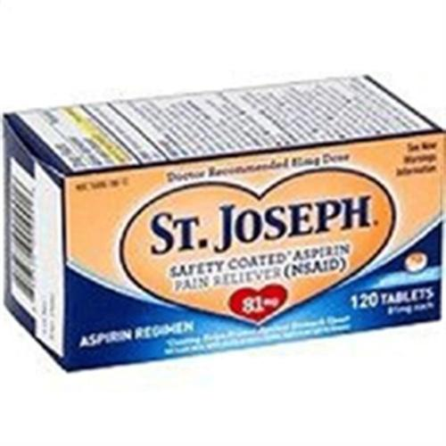 St. Joseph Enteric Coated Aspirin 81mg 120 Tablets (Pack of 2)