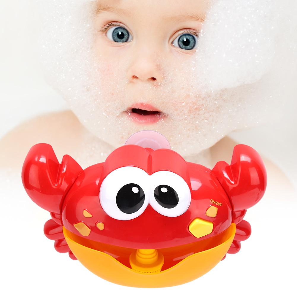 Plastic Cartoon Crab Bubble Machine Music Bubble Maker Baby Bath Shower Toy *DC
