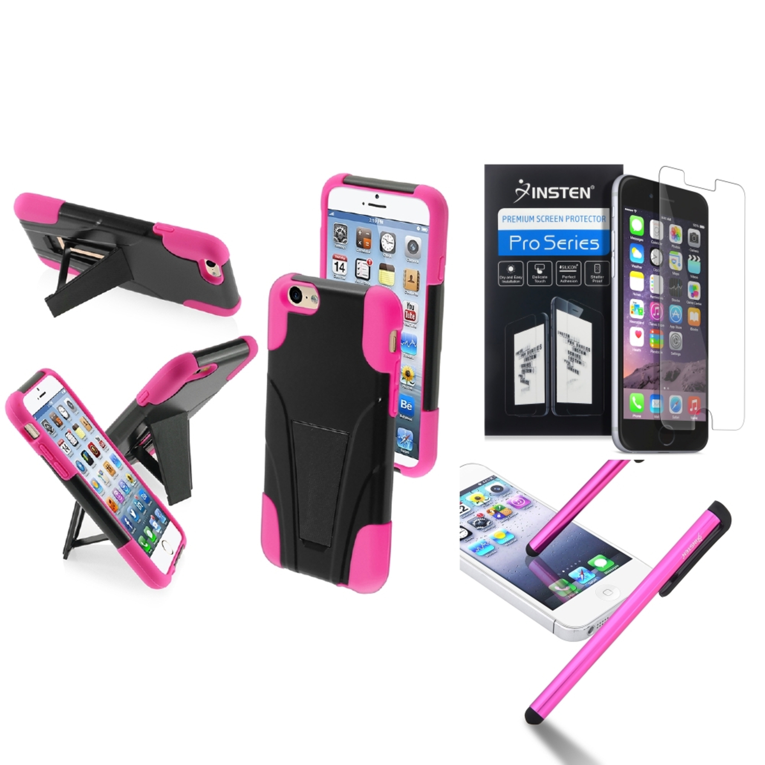 "Insten Hot Pink Colors Hybrid Hard Stand Case For iPhone 6S 6 4.7"" Protector Stylus Pen"