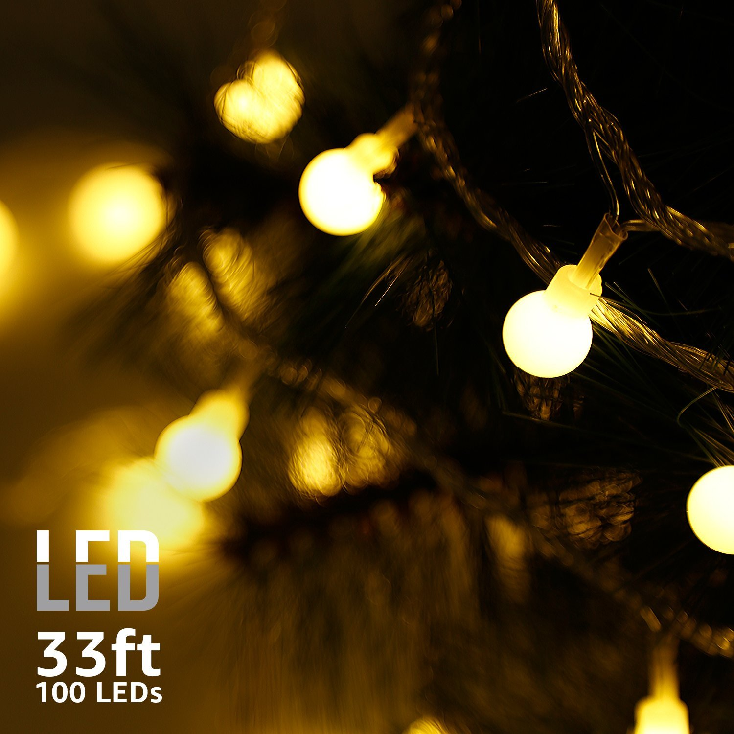 TORCHSTAR Globe String Lights, Waterproof Outdoor String Lights, Extendable Christmas Lights For Party, Garden, Patio Lights, Warm White