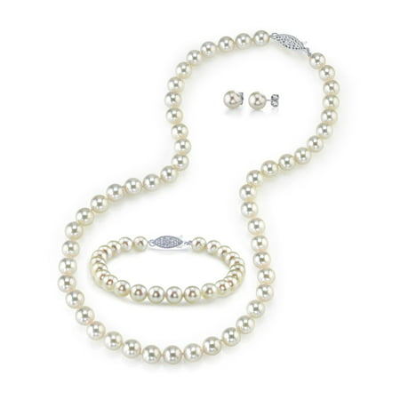 White Akoya Pearl Necklace Bracelet (14K Gold 7.5-8.0mm White Akoya Cultured Pearl Necklace, Bracelet & Earrings Set, 18
