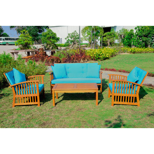 International Caravan Royal Tahiti Phuket Settee 8 Piece Set Benches Seating Group with Cushions