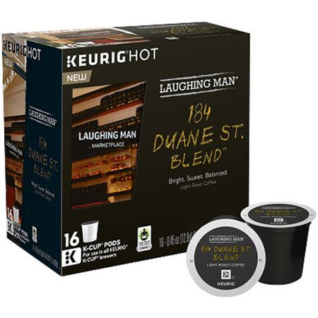 Laughing Man Keurig Hot 184 Duane St. Blend Light Roasted Coffee K-Cup Pods, .45 oz, 16 count