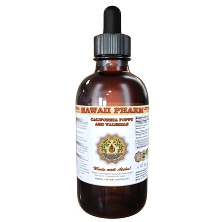 California Poppy and Valerian Tincture, Organic California Poppy (Eschscholzia Californica) Dried Aerial Parts and Valerian (Valeriana Officinalis) Dried Root Liquid Extract, Herbal Supplement 2 oz