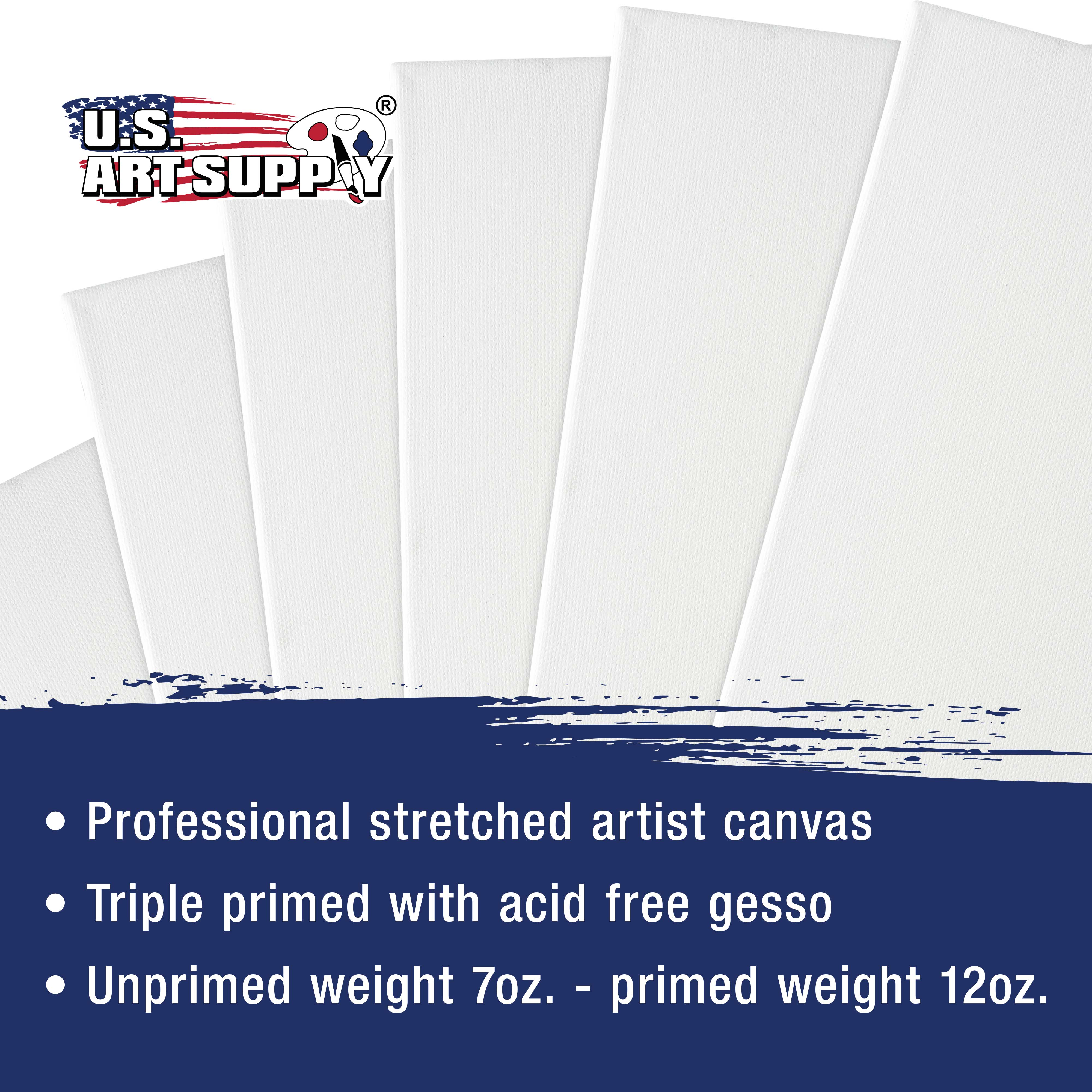 """6 Pack of US Art Supply 18/"""" x 24/"""" Acrylic Primed Cotton Duck Stretched Canvas"""