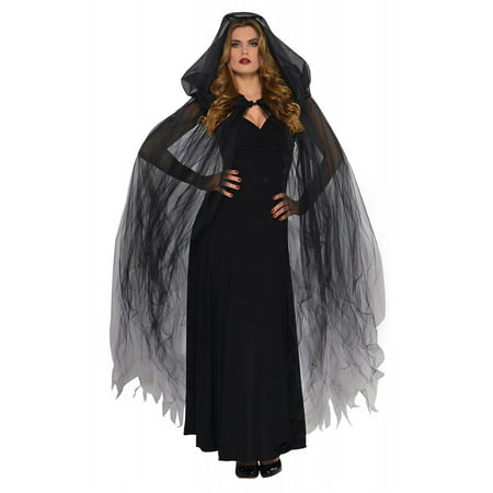 Temptress Cape Adult Costume Black - Black And Red Cape