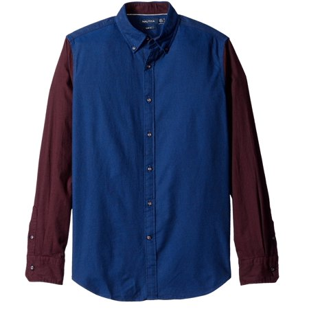 nautica new blue red mens size 2xl button down colorblocked shirt