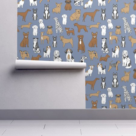 Removable Water-Activated Wallpaper Dogs Blue Gray Dogs Dogs Pets Boston Terrier (Blue Exorcist Halloween Wallpaper)