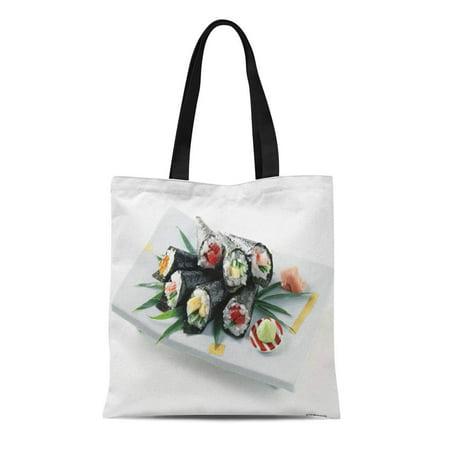 KDAGR Canvas Tote Bag Restaurant Delicious Sushi Interior Ideas Variety Food Drink Reusable Handbag Shoulder Grocery Shopping
