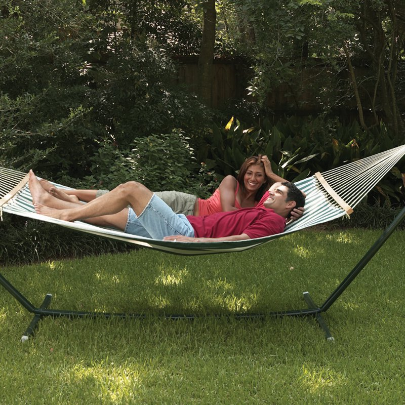 Texsport Sunset Bay Fabric Double Hammock with Steel Stand
