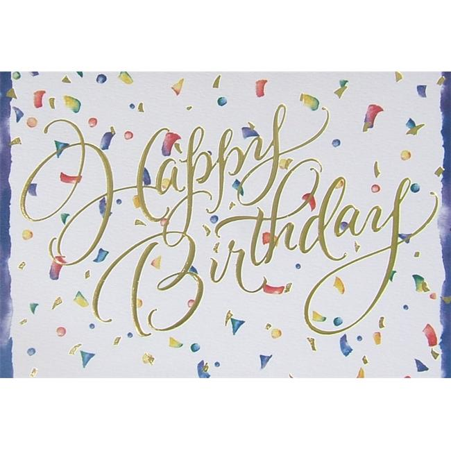 Birchcraft Studios 0500 Birthday Confetti - Gold Lined Envelope with White Lining - Red Ink - Pack of 25