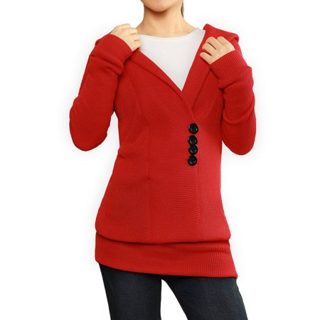Women's Hoodies Button Embellishment Knit Tunic Red XL (US 18) - image 1 de 7