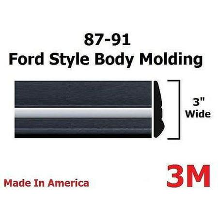 1987-1991 Ford F150 Pickup Truck Black/Chrome Side Body Trim Molding 3