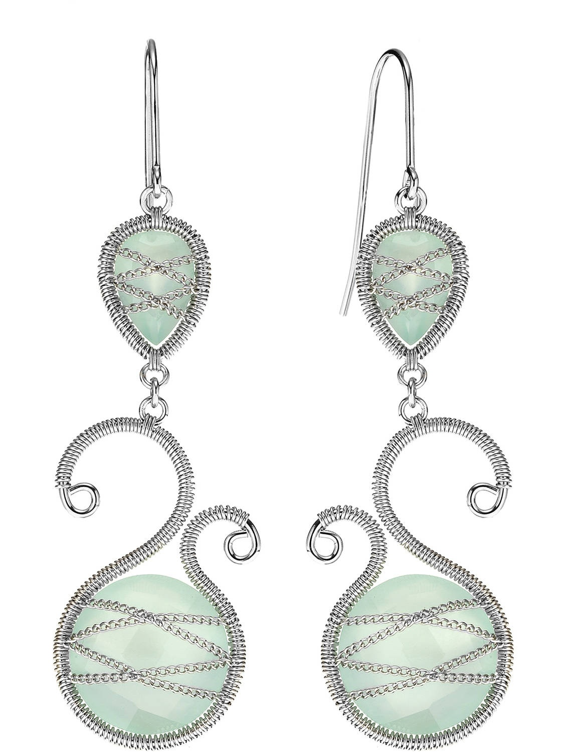 5th & Main Sterling Silver Hand-Wrapped Asymmetric and Teardrop Chalcedony Stone Earrings by Generic