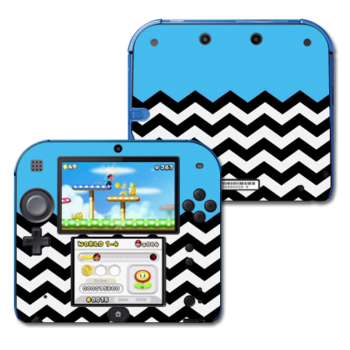 Mightyskins Protective Vinyl Skin Decal Cover for Nintendo 2DS wrap sticker skins Baby Blue Chevron