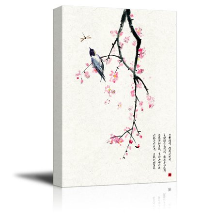 wall26 Canvas Wall Art - Chinese Ink Painting Style Red Blooming Flowers and Bird - Giclee Print Gallery Wrap Modern Home Decor Ready to Hang - 24x36 -