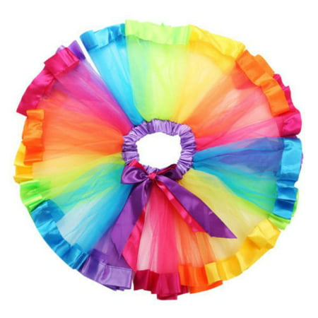 Lovely Children Girls Kids Tutu Skirt Dance Ballet Dress Rainbow Bow