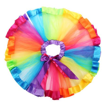 Lovely Children Girls Kids Tutu Skirt Dance Ballet Dress Rainbow Bow Child Renaissance Peasant Girl