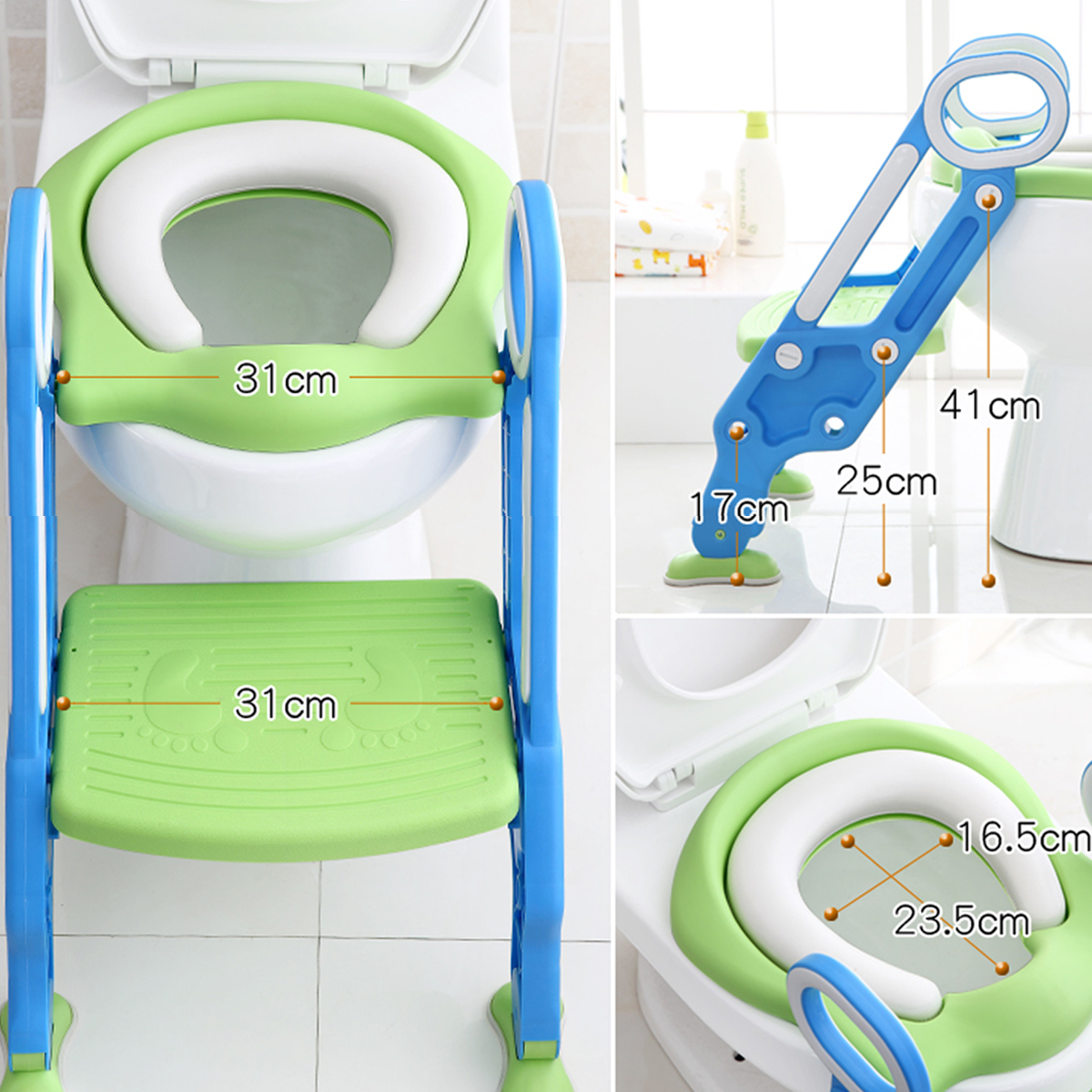 Adjustable Ladder Potty Toilet Trainer Safety Seat Chair Step Infant potty chair Toilet Training Non-slip... by Generic