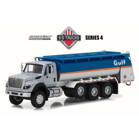 Ford Oil Tanker - 2018 International WorkStar Tanker Truck Gulf Oil, Blue w/ Silver - Greenlight 45040C/48 - 1/64 Scale Diecast Model Toy Car
