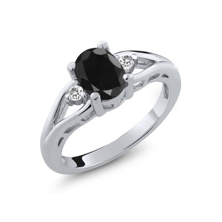 1.70 Ct Oval Black Sapphire and White Sapphire 925 Sterling Silver Women's Ring