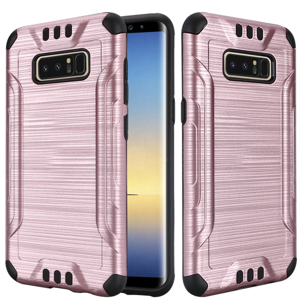 Kaleidio Case For Samsung Galaxy Note 8 [Combat Armor] Protective Brushed Metallic [Shockproof] Impact Hybrid Cover w/ Overbrawn Prying Tool [Rose Gold/Black]