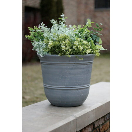 Suncast 1624GP4 Faux Concrete Planter, Resin, Grey ()