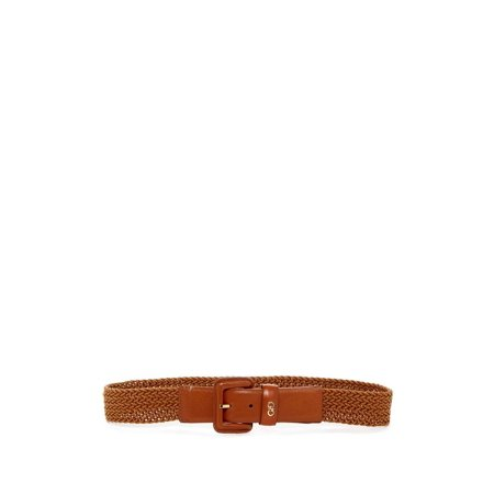 Cole Haan Genuine Leather & Wax Cord Woven Belt Medium ()