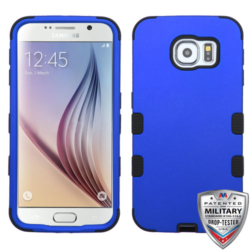 Samsung Galaxy S6 Case - Wydan Tuff Hybrid Hard Shockproof Case Protective Rubber Cover Blue on Black