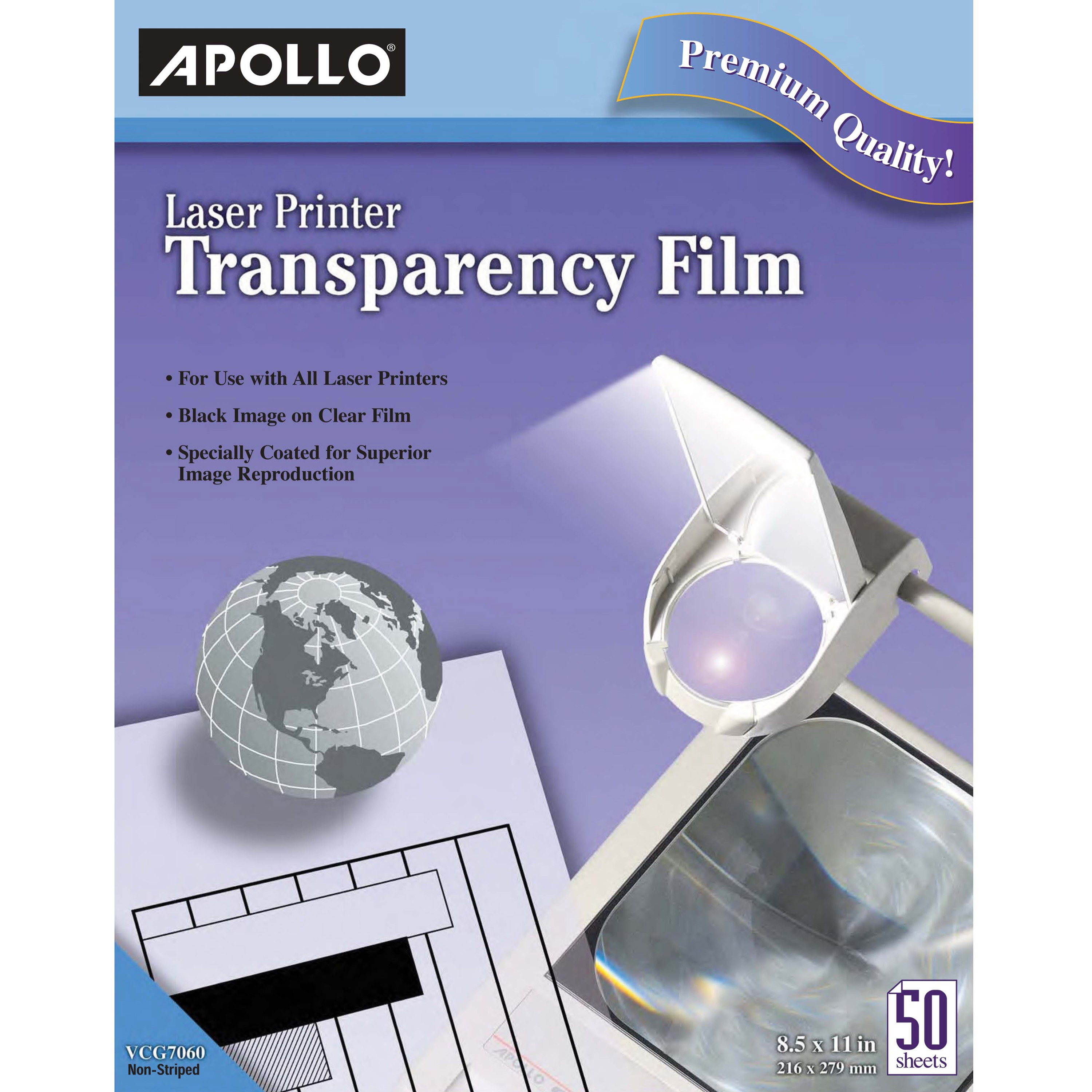 Apollo B/W Laser Transparency Film, Letter, Clear, 50/Box