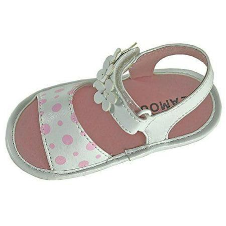 White Polka Dot Sandal - Angel Baby Girl Polka Dot & Flower Velcro Strap Leather Sandals (0, White)