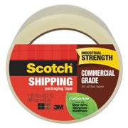 """Scotch Greener Commercial Grade Packaging Tape, 3"""" Core, 1.88"""" x 49.2 yds, Clear -MMM3750G"""