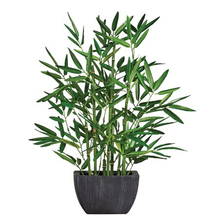 Realistic Faux Bamboo Plant with Ceramic Pot - Add Greenery to Any Room with Zero Maintenance ()