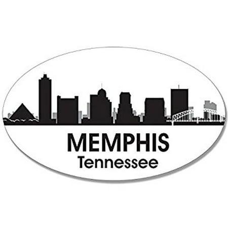 Oval B/W SKYLINE of MEMPHIS Sticker Decal (city tn tenn decal) Size: 3 x 5 inch - Costumes Memphis Tn