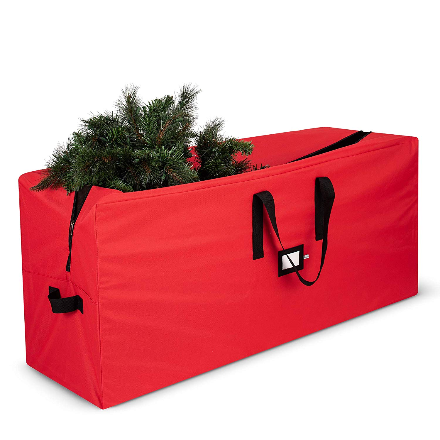 "Premium Holiday Christmas Tree Storage Bag 48""""L X 20""""H X 15""""D, Premium 600D Polyester Organizer with Sleek Zipper for Un-Assembled Trees Up to 7 Ft, Red"