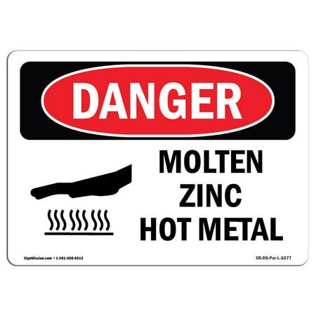 Molten Metal Protection (OSHA Danger Sign - Molten Zinc Hot Metal 5