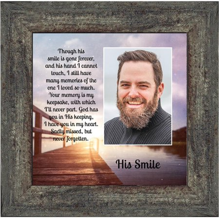 His Smile Framed Poem, in Memory a Loved One, Condolence or Sympathy Gift, 10x10 6361 (Smile Picture Frame)