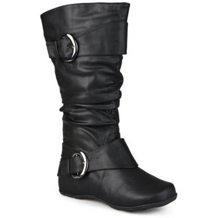 Women's Wide-Calf Buckle Knee-High Slouch Boot