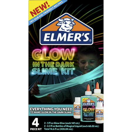 Elmer's Glow-in-the-Dark Slime Kit, Glow-in-the-Dark Glue, Assorted Colors, with Glue Slime Activator, 4