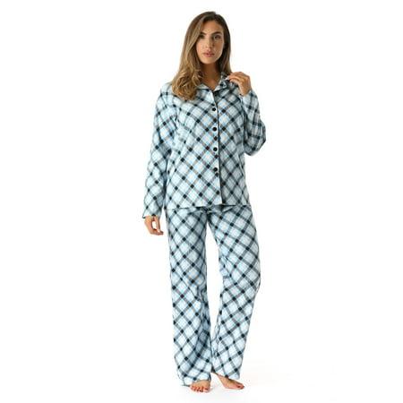 #followme Plaid Flannel Pajama Pant Set (Blue - Diagonal Plaid, Medium)