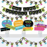 80s Retro - Banner and Photo Booth Decorations - Totally 1980s Party Supplies Kit - Doterrific Bundle