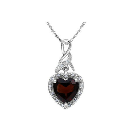 Garnet Heart Pendant Necklace 2.0 Carats (ctw) in Sterling Silver with Chain - Extension Garnet Necklace