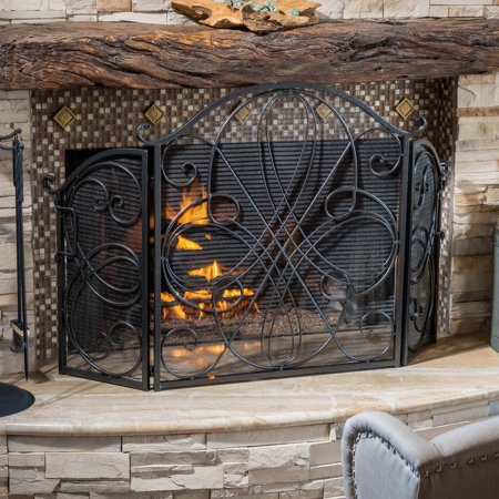 Peachy Oxford 3 Panel Iron Fireplace Screen Home Interior And Landscaping Ologienasavecom