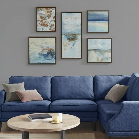 Home Essence Blue Horizon Gallery Art 5 Piece Set with Bronze Frame