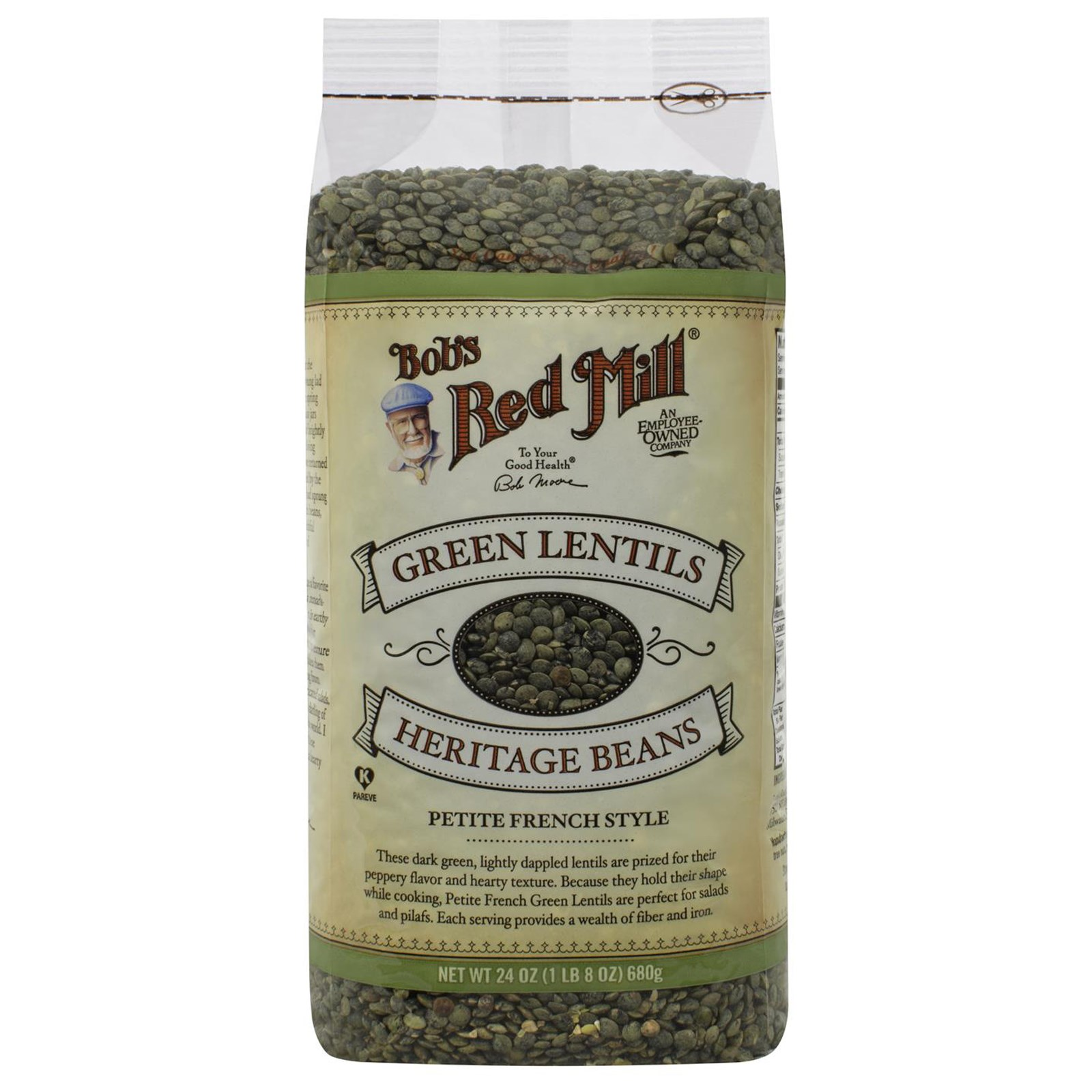 Bob's Red Mill, Green Lentils Heritage Beans, Petite French Style, 24 oz (pack of 2)